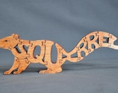 Squirrel Black, Gray, Red  or  Natural Animal Puzzle Wooden Toy Hand  Cut with Scroll Saw