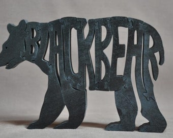 Woodland  Bear or Black Bear Wood Puzzle Hand Cut Toy