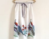 Vintage Colorful Tropical Peacock Print Wrap Skirt With Pockets XS S