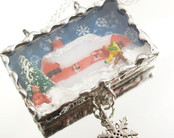 Christmas On The Farm Necklace Holiday Ornament Soldered Box Mixed Media One-of-a-Kind Diorama Pendant