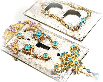 Rhinestone Light Switch Plate Out Let Cover Set Soldered Cover Art Mixed Media Art