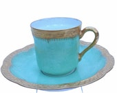 Mint and Gold Vintage Demitasse Cup & Saucer