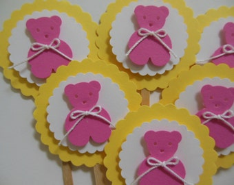 Pink Teddy Bear Cupcake Toppers - Yellow, Pink and White - Girl Birthday Decorations - Girl Baby Shower Decorations - Set of 6