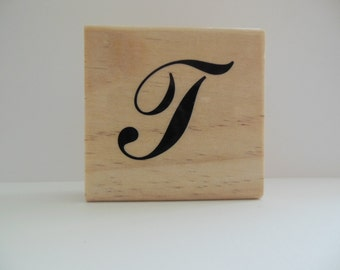 Letter T Rubber Stamp - Patchwork Monogram Collection - Wood Mounted Rubber Stamp - Alphabet Letter T Stamp