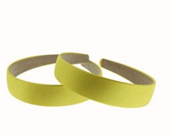 "2 pieces-25mm (1"") Satin Covered Headband in Daffodil"