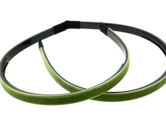 "2 pieces - 10mm (3/8"") Velvet Lined Headband with Teeth in Kiwi - Hair Accessories"