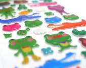 Cute Puffy Japanese Stickers  - Animal Fun - Happy Pond Family (1279)