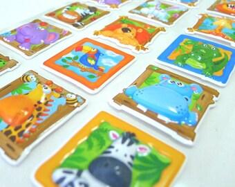 Cute 3D Embossed Stickers  - Wacky Zoo (1295L)