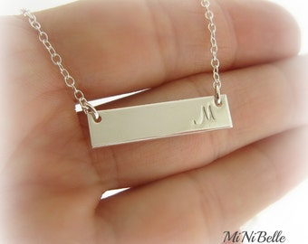 Sterling Silver Bar Necklace. Personalized Initial Necklace. Silver Bar Necklace. Mom Necklace. Initial Necklace
