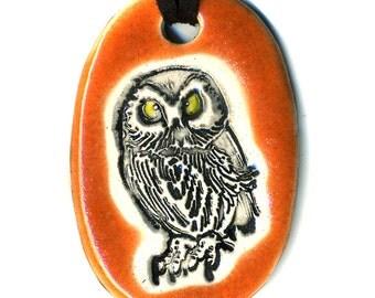 Owl Ceramic Necklace in Orange