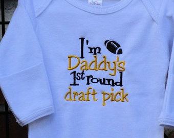 Football White Layette Baby Gown I'm Daddy's First Round Draft Pick