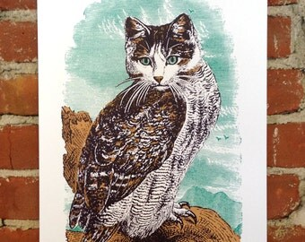 Meowl- Hand-Printed Art print