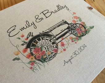 Barn Wedding Guest Book or Photo Album  for Farm or Country Wedding - Tractor & Wildflowers - Personalized and Custom Made for You