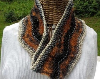 Cowl, handknit wool and mohair yarn in my own design