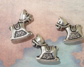 3 Baby HOBBY HORSE silver-plated alloy Beads, about 16x11mm