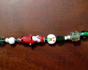 Christmas Lampwork Bead Bracelet