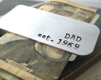 Dad's Personalized Money Clip, aluminum, hand stamped, customize with your quote, 75 char front, 20 char back, fathers day, gifts for him