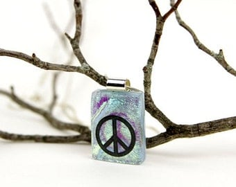 Peace Sign Jewelry- Peace Sign Pendant-Dichroic Pendant- Fused Glass Pendant- Fused Glass Necklace-Dichroic Jewelry- Dichroic Glass Jewelry