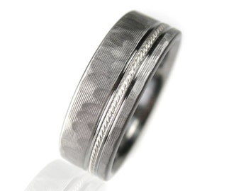Men's Wedding Band Titanium & Silver Milgrain Hammered Ring Comfort Fit