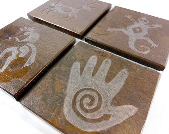 Stone Coasters: Petroglyph Coasters - Kokopelli Coasters, Power Hand, Gecko, Antelope - 4 Etched Slate Coasters, Natural Drink Coaster Set