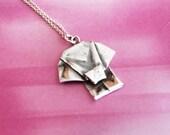 Silver Origami Elephant Mini Pendant Hand Folded Fine Silver