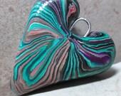 Hearts for Jenny Handmade Polymer Clay Heart Pendant - Swirls
