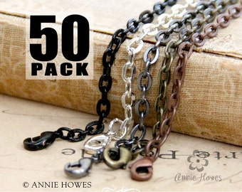 """50 Colored Link Chains with Lobster Clasp. Available in Black, Vintage Copper, Vintage Gold, and Silver. 24"""" Length."""
