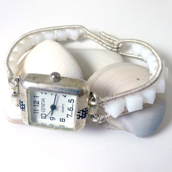 Sterling and White Crystal Wired Watch