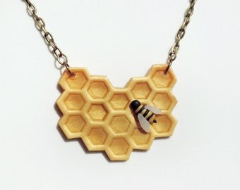 Golden Geometric Honeycomb and Bee Necklace Polymer Clay Jewelry