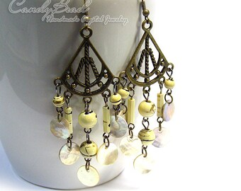 Cream Beads and Shells Antique Brass Earrings