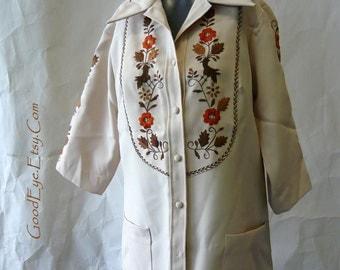 Vintage Embroidered Tunic Shirt  MEXICO sz 6 8 10 Helen CERDA Top Jacket Blouse 1970s Western Boho