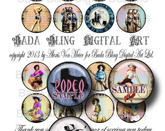 Buckaroo Babes,cowgirl collage sheets, INSTANT  Digital Download at Checkout,cowgirl jewelery,rodeo,   1.5 inch circles