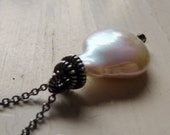 Single Pearl Necklace, Artisan Pearl Necklace, Wire Wrapped Bail, Artisan Bail, Coin Pearl Necklace,  Freshwater Pearl Jewelry