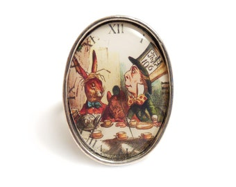Alice in Wonderland The Mad Hatter's tea Party - antique silver adjustable TEA TIME