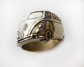 1960's VW Bus Angled Wrap Ring in White or Gold Bronze