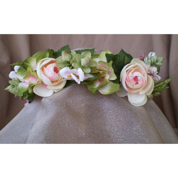 floral head wreath wedding bridal crown flower head piece women's renaissance costume accessory