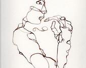 Nussbaum Tusche, Zeichnung, Figur, 9 x 12