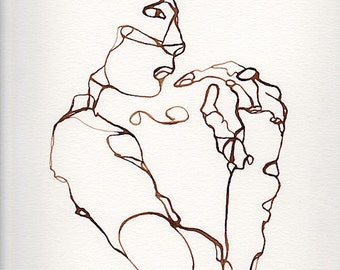 walnut ink, line drawing, figure, 9 x 12