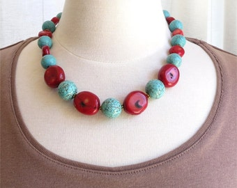 Turquoise colored howlite and red coral necklace SALE HALF PRICE