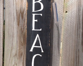 Handpainted vintage look beach sign