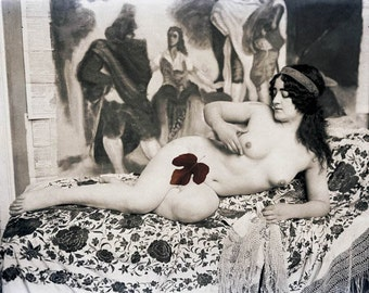 Photograph Print Mature Artist Model French Nude Reclining on Tapestry 1900