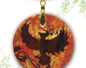 Phoenix Necklace - Reversible Glass Art - GeoForms SHIMMERZ - Shimmering Phoenix Rising
