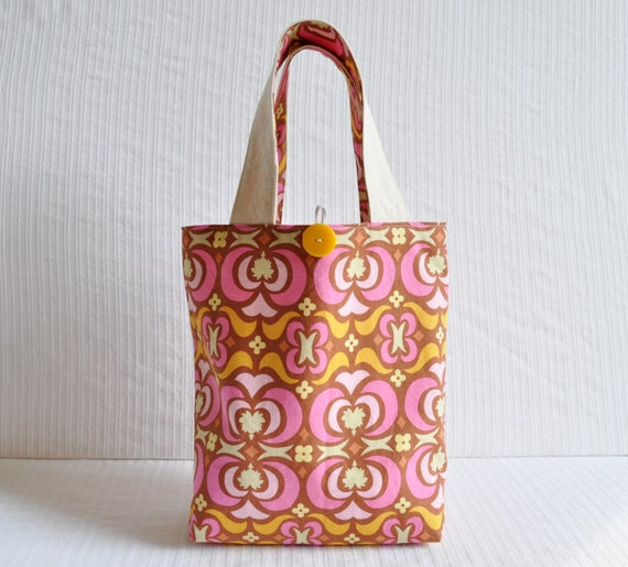 Lunch Bag in Pink Maze - Pink Brown and Orange Mini Tote
