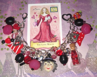 Fortune Teller Charm Bracelet Tarot Bracelet Love Spell Gypsy Witch Bracelet OOAK Valentine Jewelry Hearts & Potion Vial Statement Piece