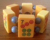 Bakelite mahjong bracelet / bakelite tiles / grey jade beads