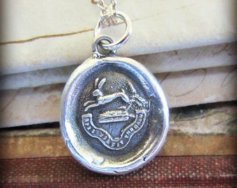 Hope Conquers All Wax Seal Pendant Necklace - Hope Necklace - Inspirational Necklace - Rabbit Bunny Crest Charm - RP805