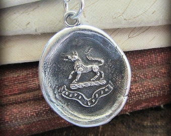 Valor and Guardianship - Wolf Wax Seal Pendant Necklace - Beware of the Wolf -  Latin antique wax seal jewelry - RP815