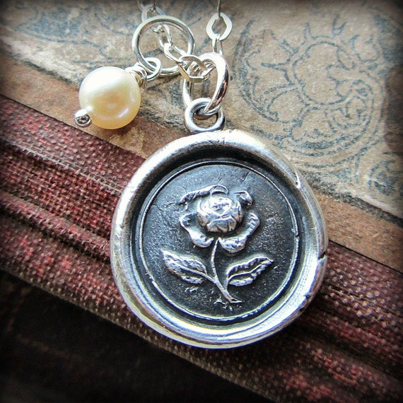 Wax Seal English Rose Necklace with Fresh Water Pearl Drop dangle in fine silver  Rose Necklace E2100