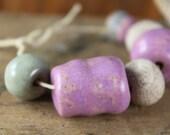 Handmade stoneware ceramic beads Lavender and Blue Assortment (6)