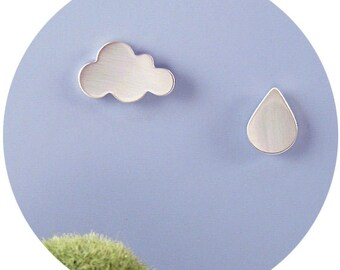Weather Studs / Sterling Silver OR 9ct Gold Mismatched (or Matching) Cloud and Raindrop Stud Earring Set Handcrafted by Ginny Reynders